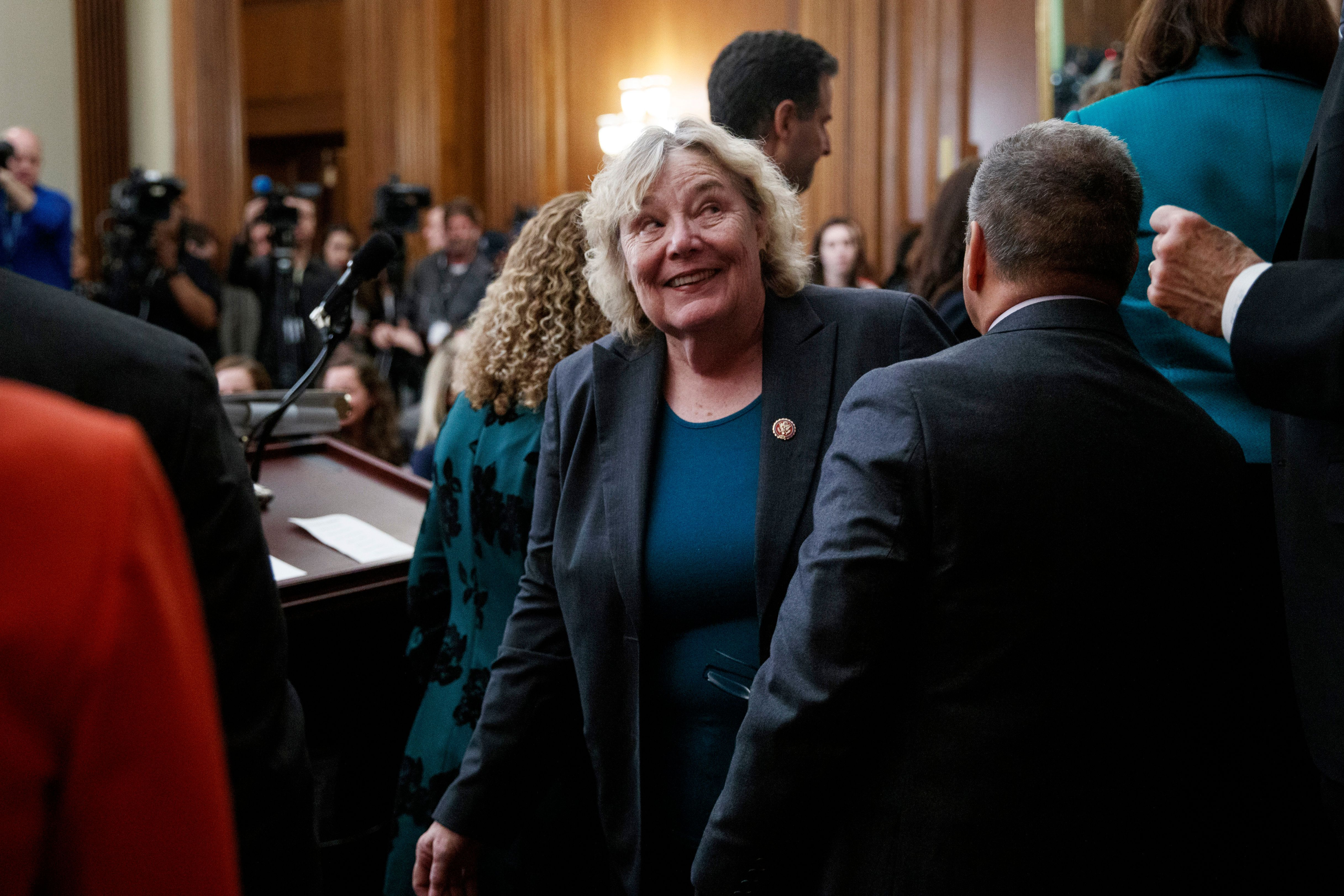 Rep. Zoe Lofgren, D-Calif., turns to her Democratic colleagues at the conclusion of a news conference on Capitol Hill in Washington, Friday, Jan. 4, 2019, about Introduction of H.R. 1 - For the People Act. (AP Photo/Carolyn Kaster)