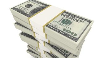 A pile of U$ 100 over white background.