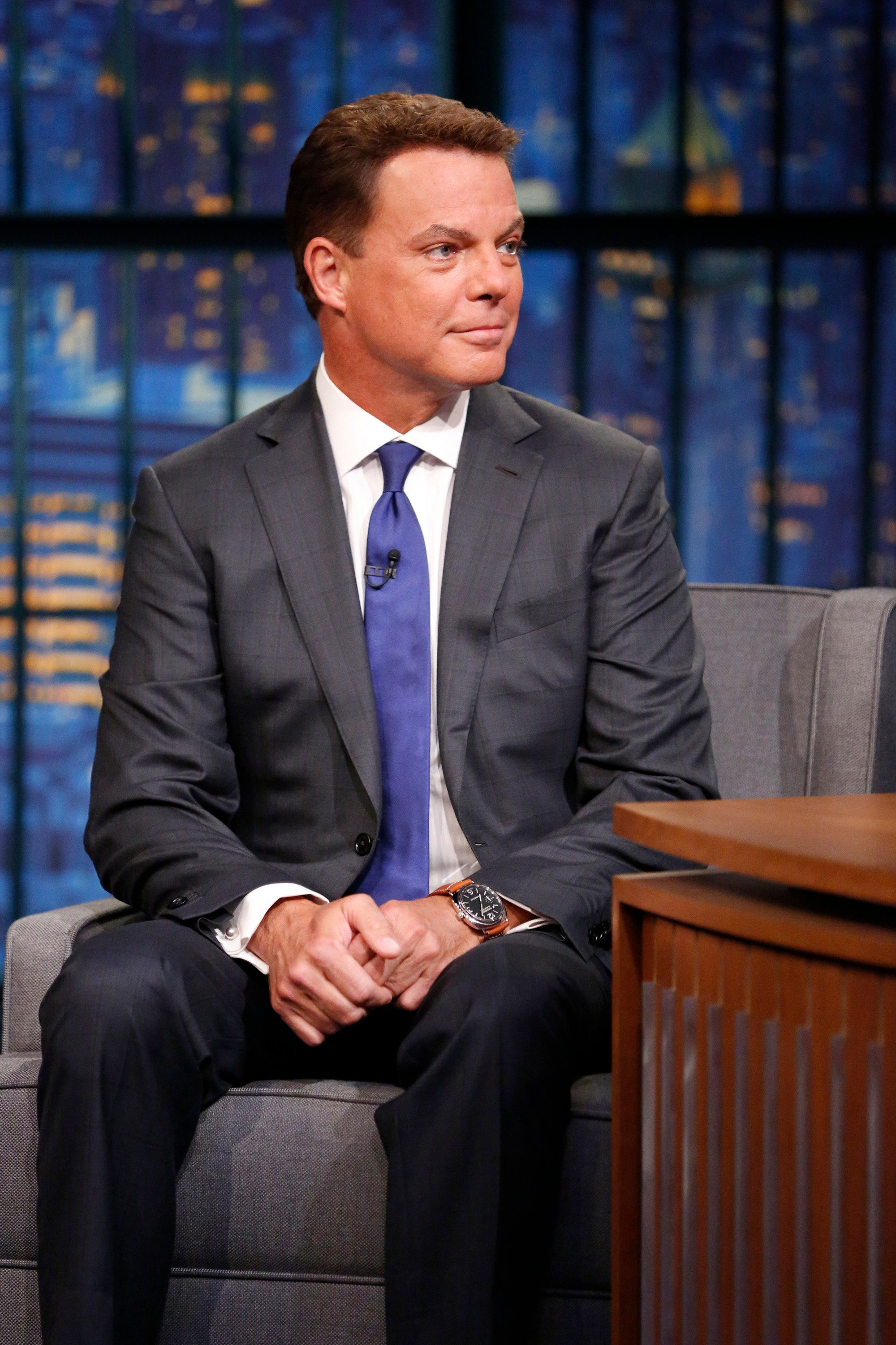 LATE NIGHT WITH SETH MEYERS -- Episode 248 -- Pictured: Fox New's Shepard Smith during an interview on August 17, 2015 -- (Photo by: Lloyd Bishop/NBC/NBCU Photo Bank via Getty Images)