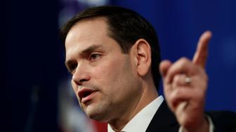 Sen. Marco Rubio, R-Fla., speaks at the Heritage Foundation in Washington, Monday, Feb. 11, 2019, about the crisis in Venezuela. (AP Photo/Carolyn Kaster)
