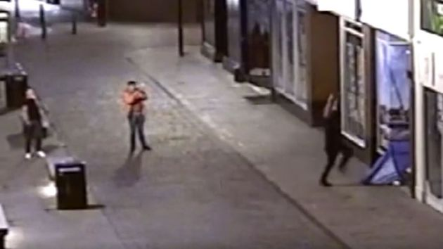Footage played at Hull Crown Court showed Jamie Nickell, 26, land feet first on the tent in a shop doorway...