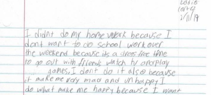 Kid's Note About Why He Didn't Do His Homework Is A Huge