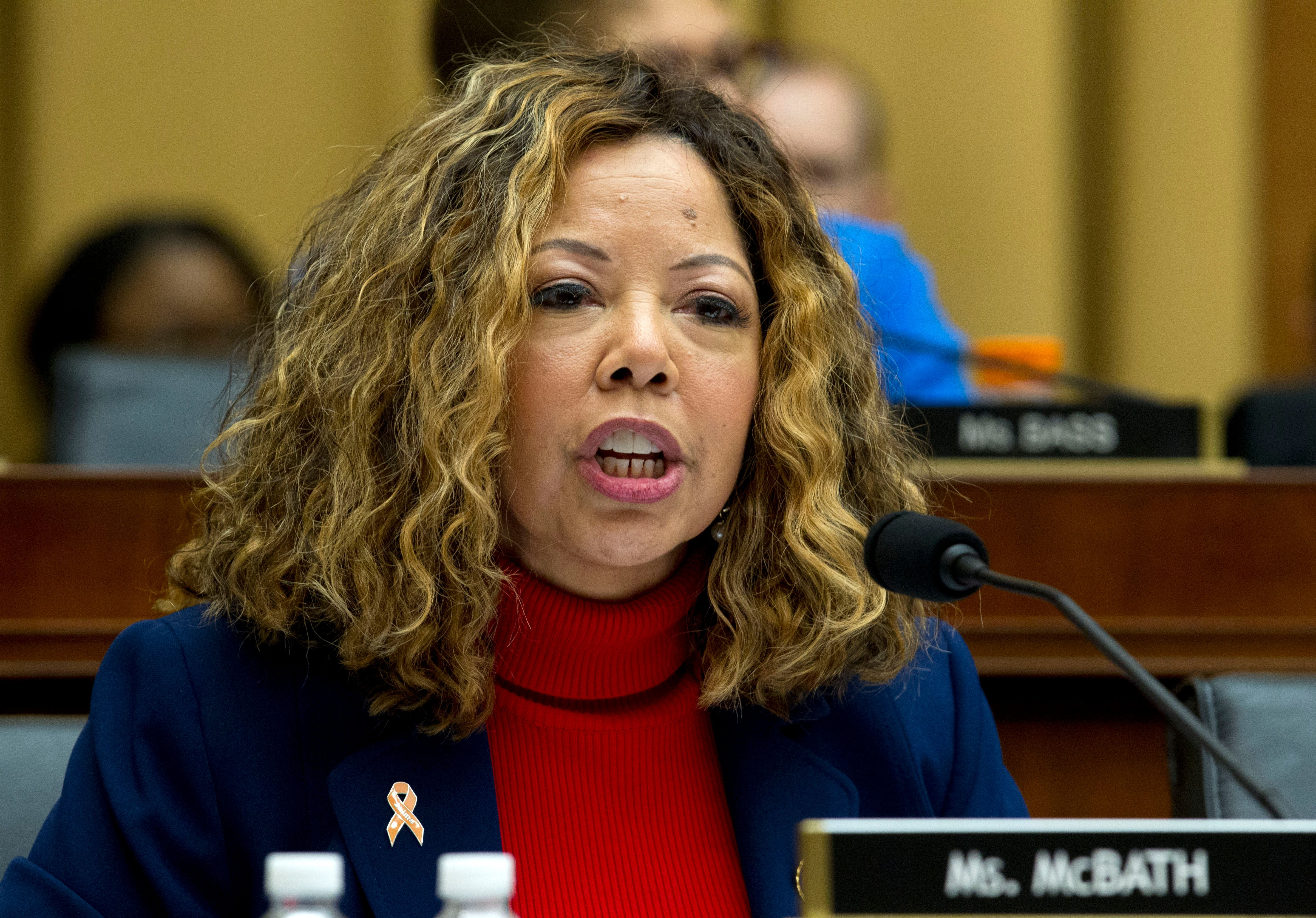 Rep. Lucy McBath D-Ga., speaks during the House Judiciary Committee hearing on gun violence, at Capitol Hill in Washington, Wednesday, Feb. 6, 2019. (AP Photo/Jose Luis Magana)