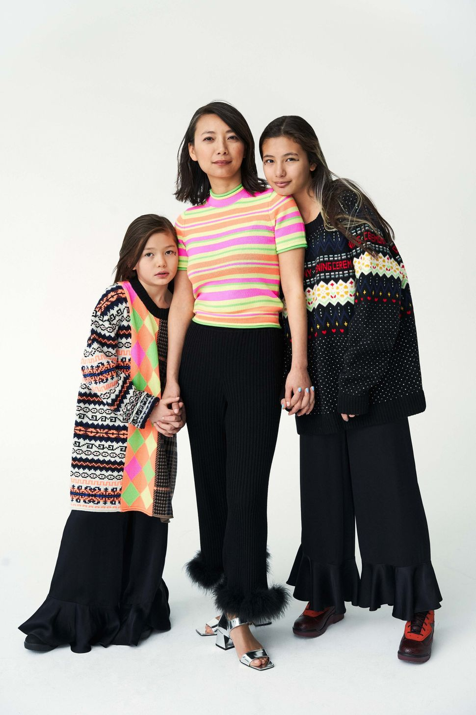 Jing Liu (architect, founder of design firm SO-IL), with her daughters Amalia and Francis