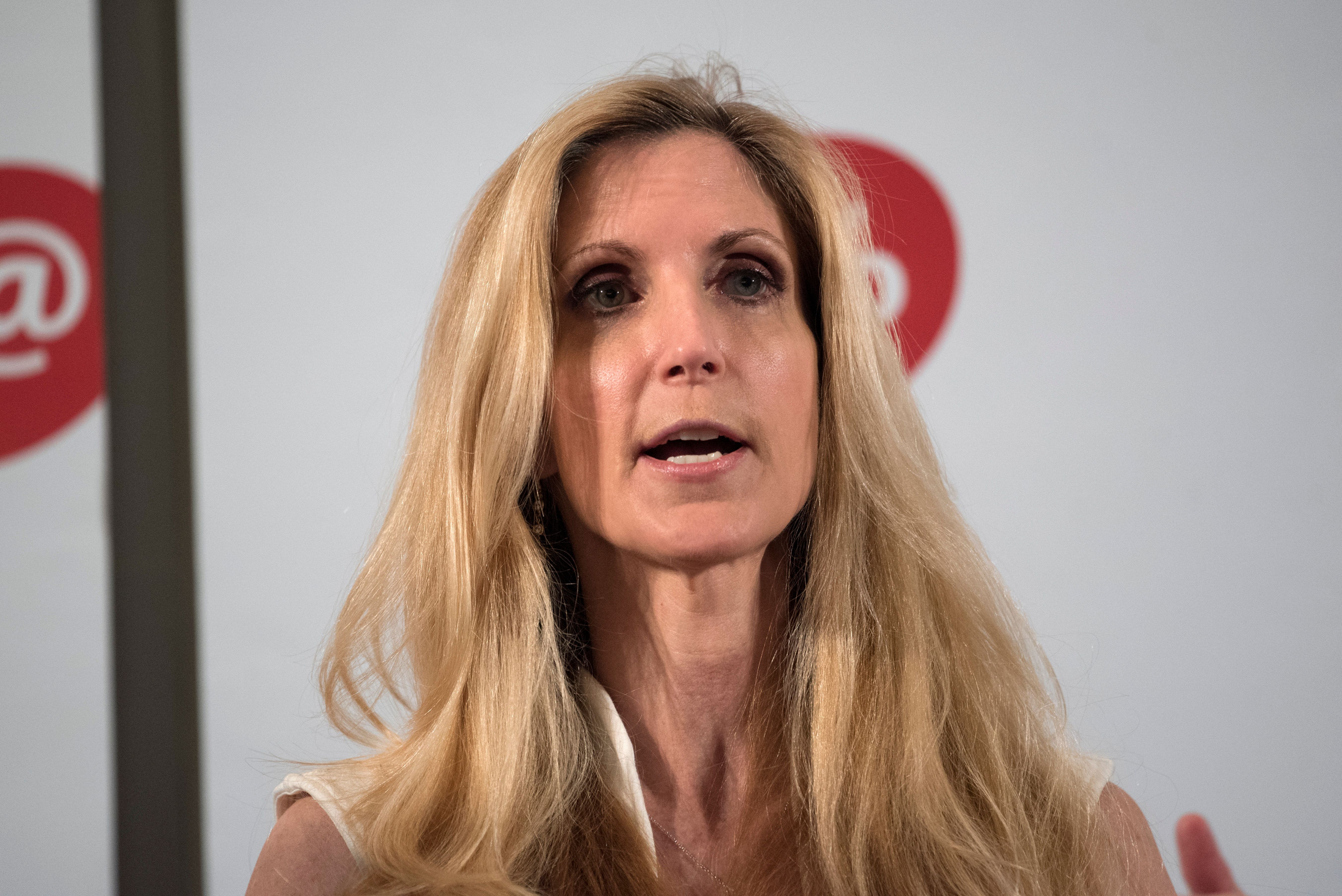 Ann Coulter speaks during Politicon at the Pasadena Convention Center in Pasadena, California on July 29, 2017. Politicon is a bipartisan convention that mixes politics, comedy and entertainment. (Photo by: Ronen Tivony) (Photo by Ronen Tivony/NurPhoto via Getty Images)