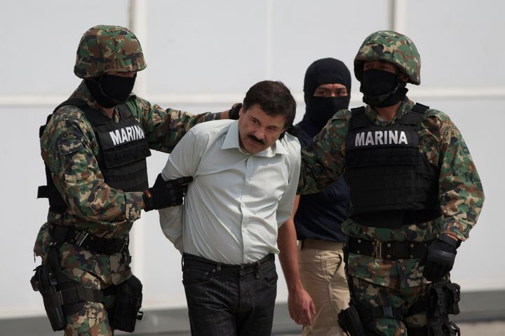 "Joaquin ""El Chapo"" Guzman in Mexico City after his arrest in February 2014. A former top Drug Enforcement Administr"