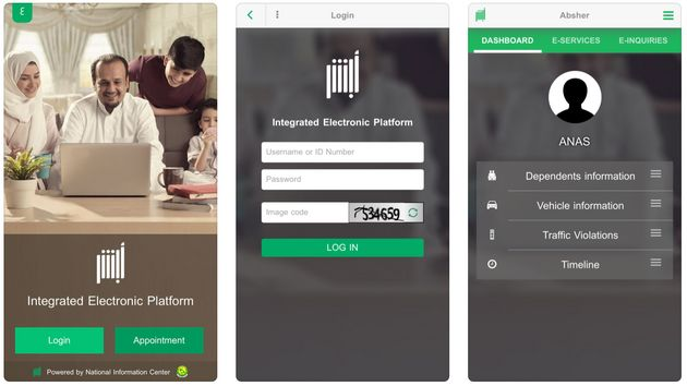 Screenshots of Saudi Arabia's Absher app as seen on