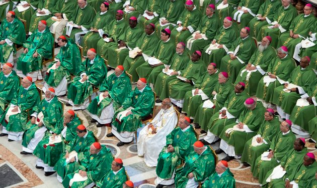 Cardinals and bishops attend a Mass celebrated by Pope Francis for the closing of a month-long Vatican...