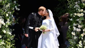 <p>Prince Harry and Meghan Markle were married at St George's Chapel on May 19, with the bride wearing a gown designed by Clare Waight Keller of Givenchy (Getty) </p>