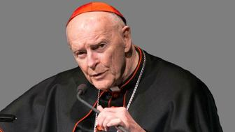 Theodore Edgar McCarrick headshot, retired Catholic Archbishop of Washington DC, graphic element on gray