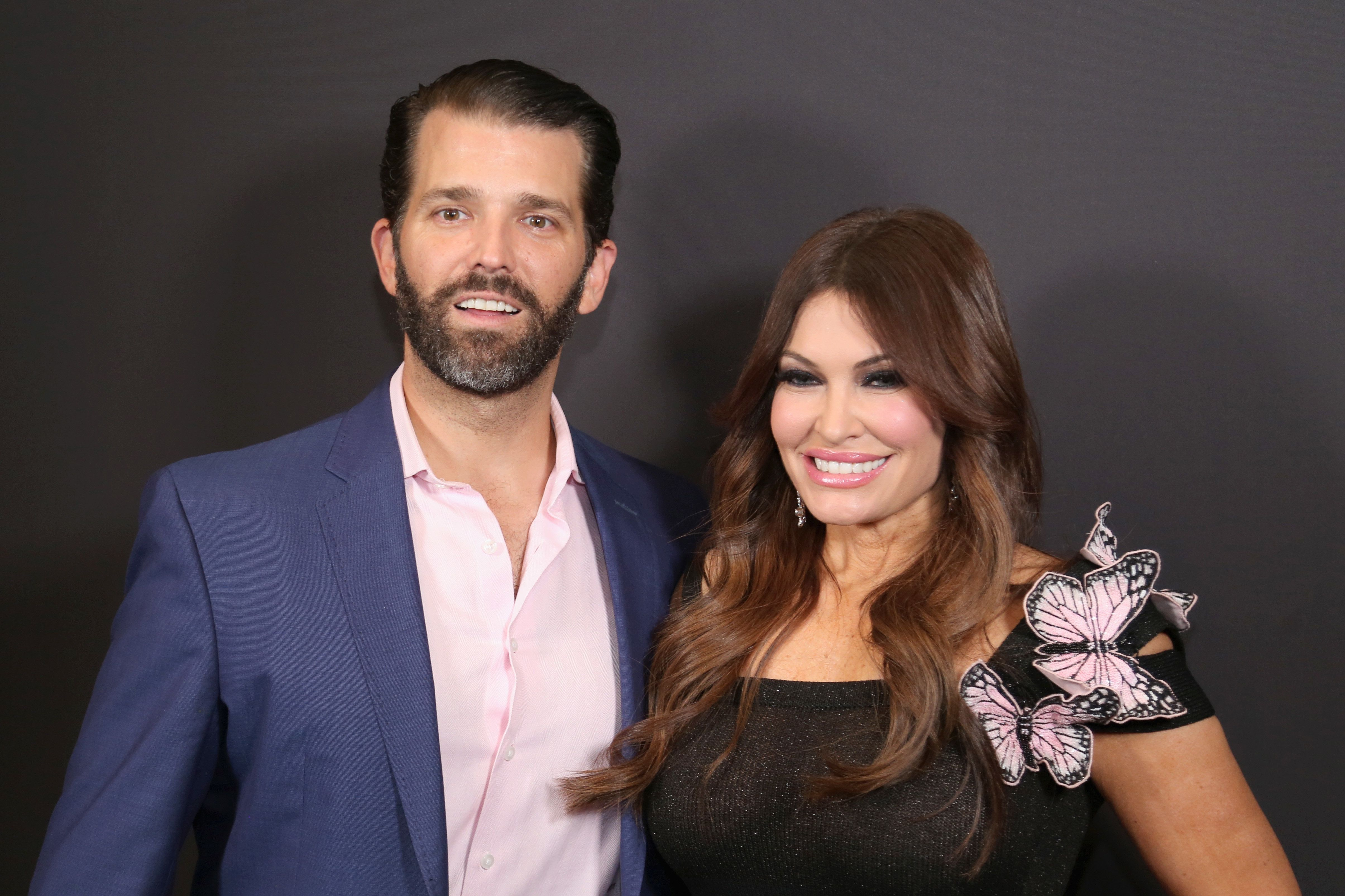 NEW YORK, NY - FEBRUARY 13: Donald Trump Jr. and Kimberly Guilfoyle pose backstage Gallery II in Spring Studios after the Zang Toi runway show during New York Fashion Week: The Shows at Spring Studios on February 13, 2019 in New York City.  (Photo by Manny Carabel/Getty Images)