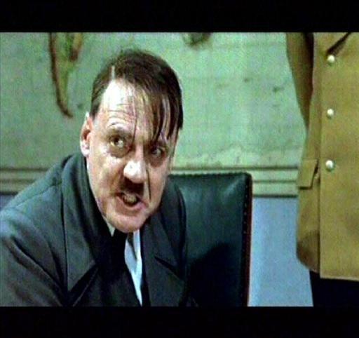"""Bruno Ganz, Swiss actor as Adolf Hitler in scene from movie """"Der Untergang"""", Germany, video still"""