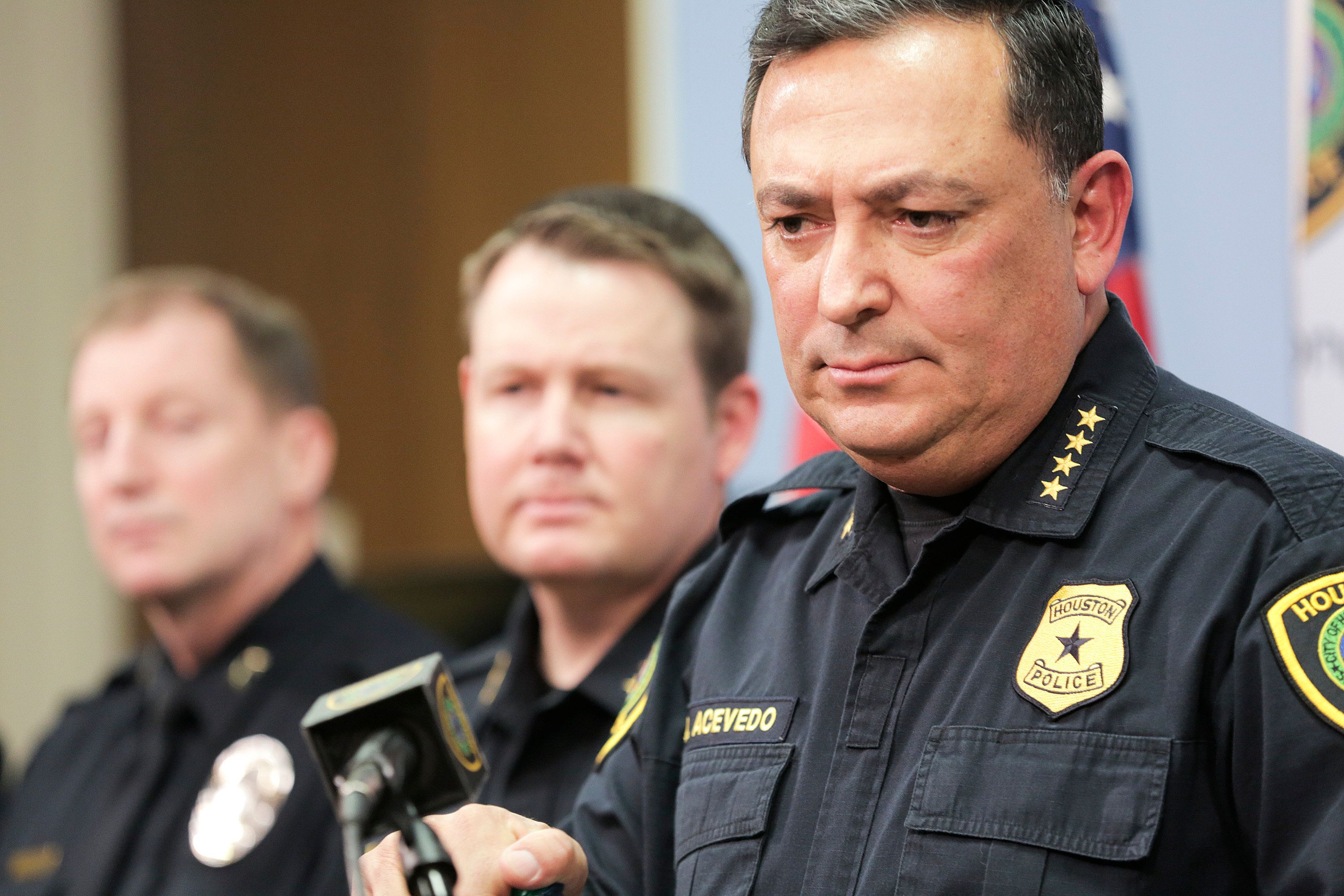 Houston Police Chief Art Acevedo talks to the media during a press conference at the police station, Friday, Feb. 15, 2019 in Houston. A lead investigator lied in an affidavit justifying a drug raid on a Houston home in which two residents were killed and four undercover officers were shot and wounded during a gun battle, the city's police chief said Friday.   ( Elizabeth Conley/Houston Chronicle via AP)