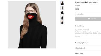 "A screenshot taken on Thursday Feb.7, 2019 from an online fashion outlet showing a Gucci turtleneck black wool balaclava sweater for sale, that they recently pulled from its online and physical stores. Gucci has apologized for the wool sweater that resembled a ""blackface"" and said the item had been removed from its online and physical stores, the latest case of an Italian fashion house having to apologize for cultural or racial insensitivity. (AP Photo)"