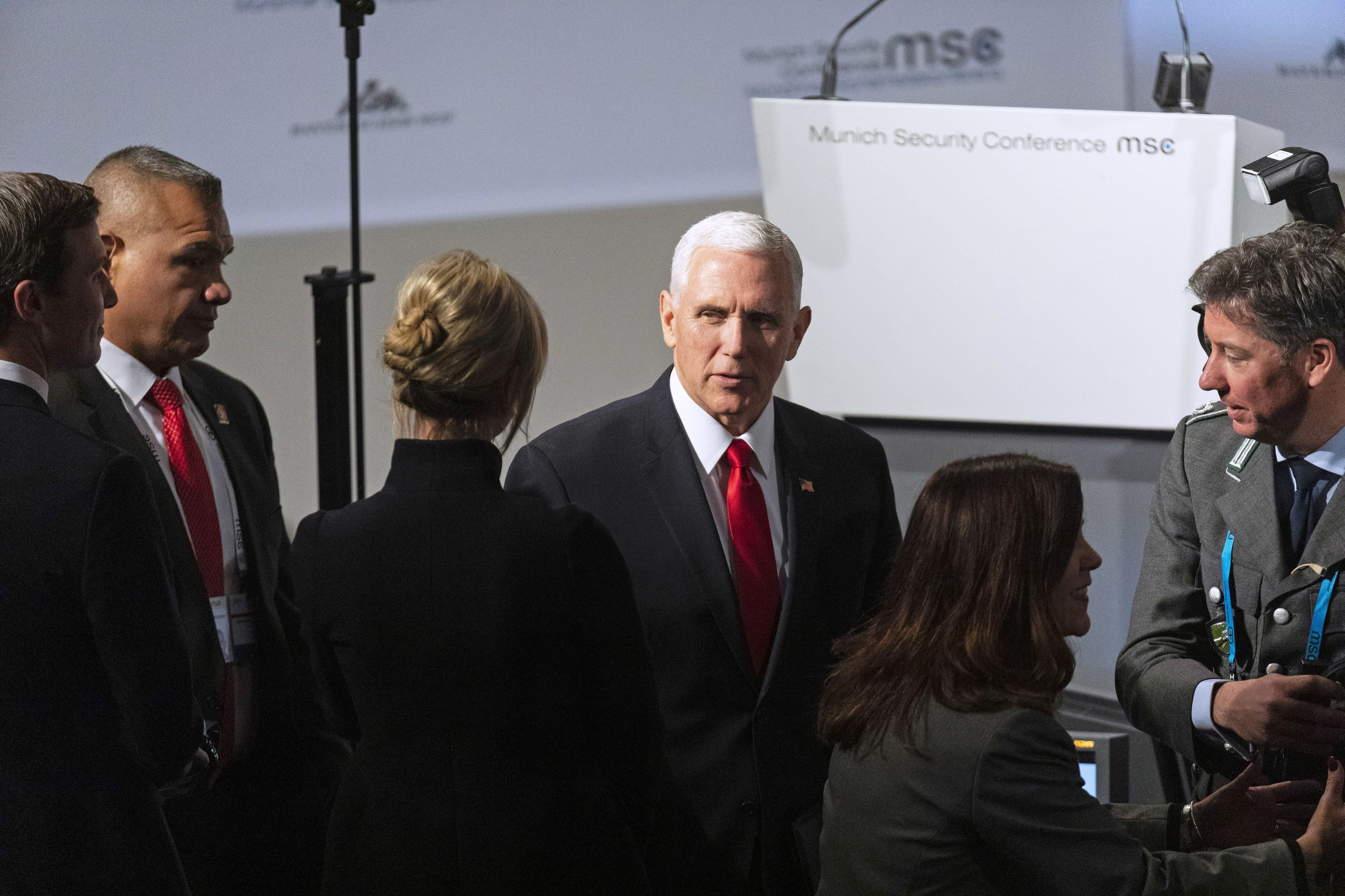 U.S. Vice President Mike Pence speaks to Ivanka Trump, assistant to U.S. President Donald Trump, during the Munich Security Conference in Munich, Germany, on Saturday, Feb. 16, 2019. Germany's chancellor Angela Merkel took President Donald Trump to task before an audience of senior security officials, calling his administrations suggestion that European autos are a threat to U.S. national security a shock. Photographer: Alex Kraus/Bloomberg via Getty Images