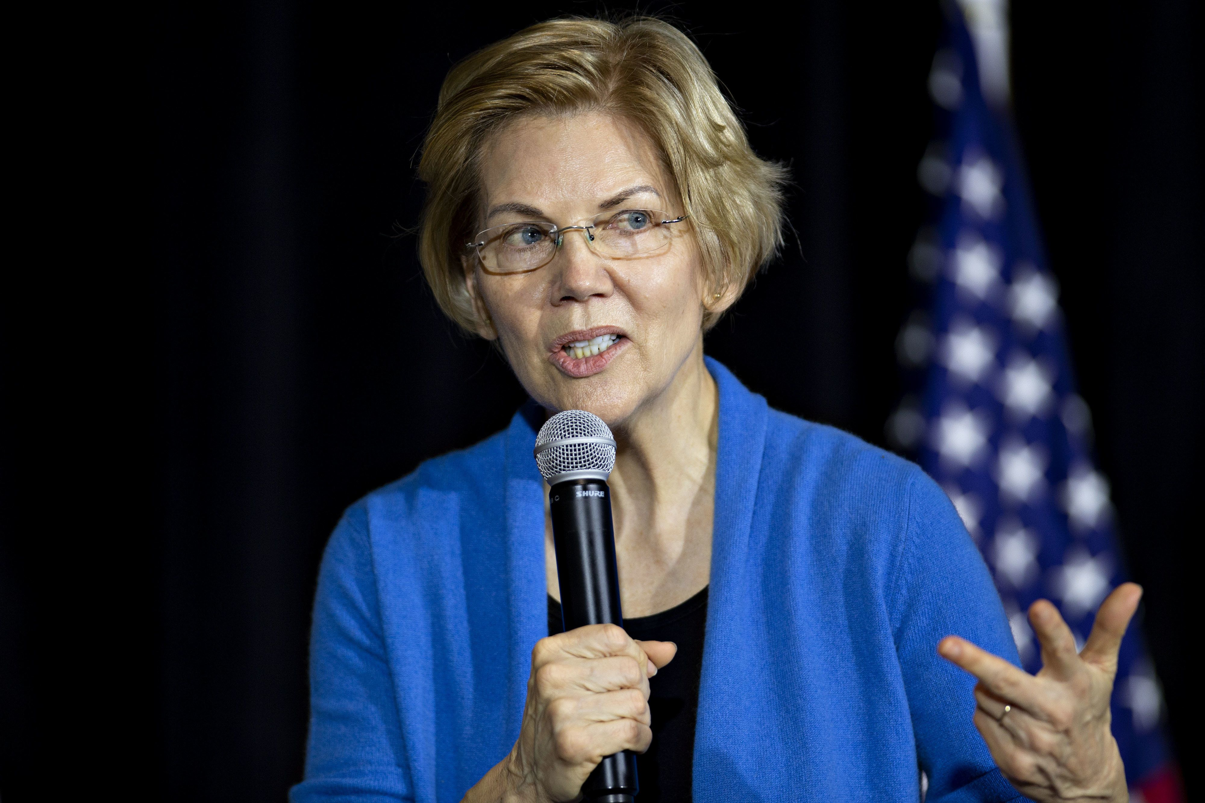 Senator Elizabeth Warren, a Democrat from Massachusetts and 2020 presidential candidate, speaks during a campaign stop in Cedar Rapids, Iowa, U.S., on Sunday, Feb. 10, 2019. Warren made it official on Saturday: She's running for president to change a country she says is 'rigged by the wealthy.' Photographer: Daniel Acker/Bloomberg via Getty Images