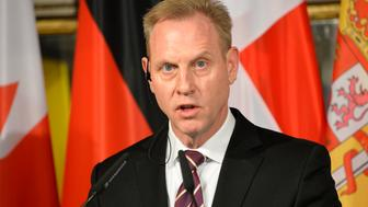US Secretary of Defence Patrick M. Shanahan speaks during a joined statement with the German Defence Minister after the D-ISIS meeting of defence minsters at the Hotel Bayerischer Hof prior to the 55th Munich Security Conference (MSC) in Munich, southern Germany, on February 15, 2019. - The 2019 edition of the Munich Security Conference (MSC) will take place from February 15 to 17, 2019. (Photo by THOMAS KIENZLE / AFP)        (Photo credit should read THOMAS KIENZLE/AFP/Getty Images)
