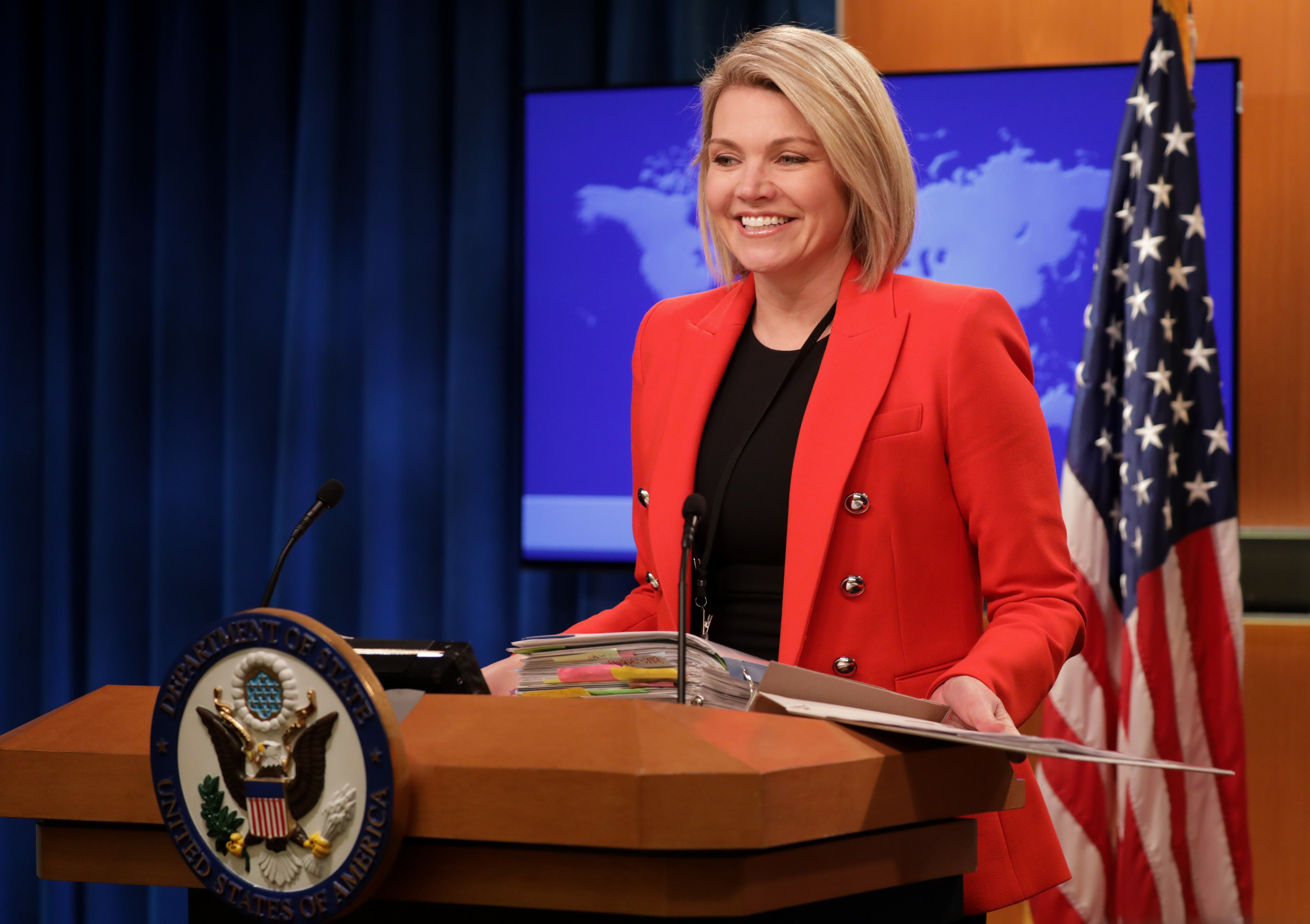 WASHINGTON, USA - NOVEMBER 15: U.S. Department of State Spokesperson Heather Nauert speaks during a press conference in Washington, United States on November 15, 2018. (Photo by Yasin Ozturk/Anadolu Agency/Getty Images)
