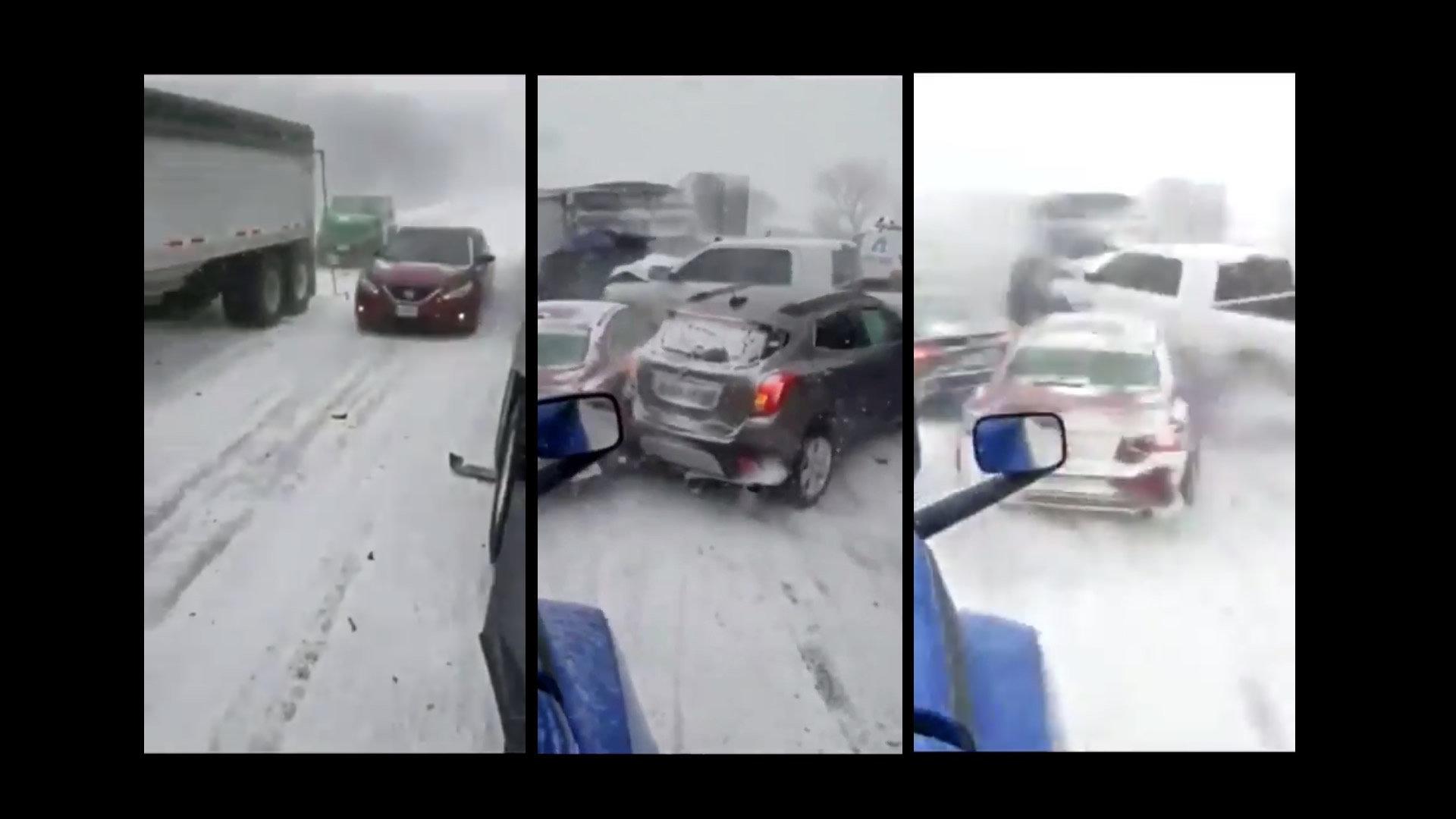 凍結した高速道路で車が次々に…玉突き事故の動画が恐怖すぎる