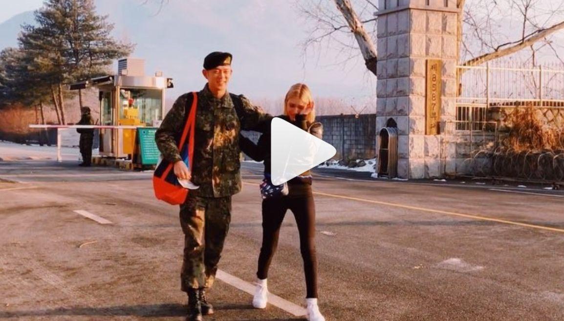 스테파니 미초바가 전역한 빈지노와의 재회 순간을 인스타그램에