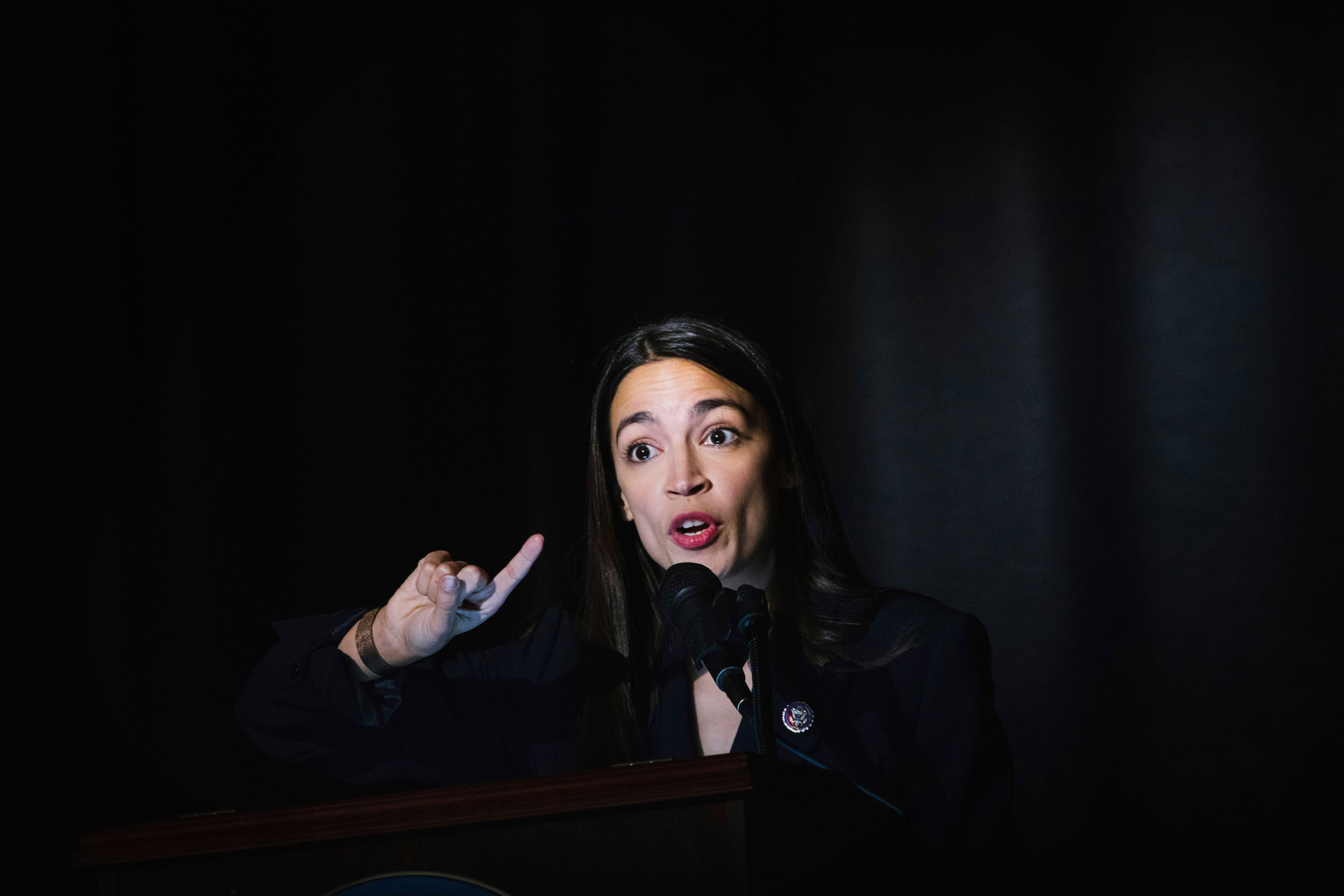 Congresswoman Ocasio-Cortez delivers her inaugural address after she was sworn in as a member of Congress Saturday, Feb. 16, 2019, in New York. (AP Photo/Kevin Hagen).