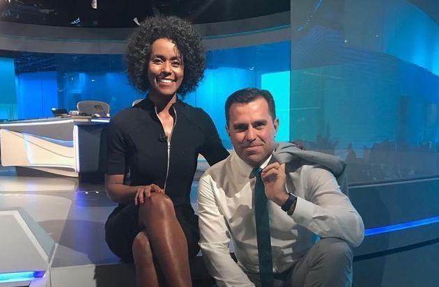 A jornalistaMaria Júlia Coutinho, ao lado de seu colega Rodrigo Bocardi, apresentou o telejornal...