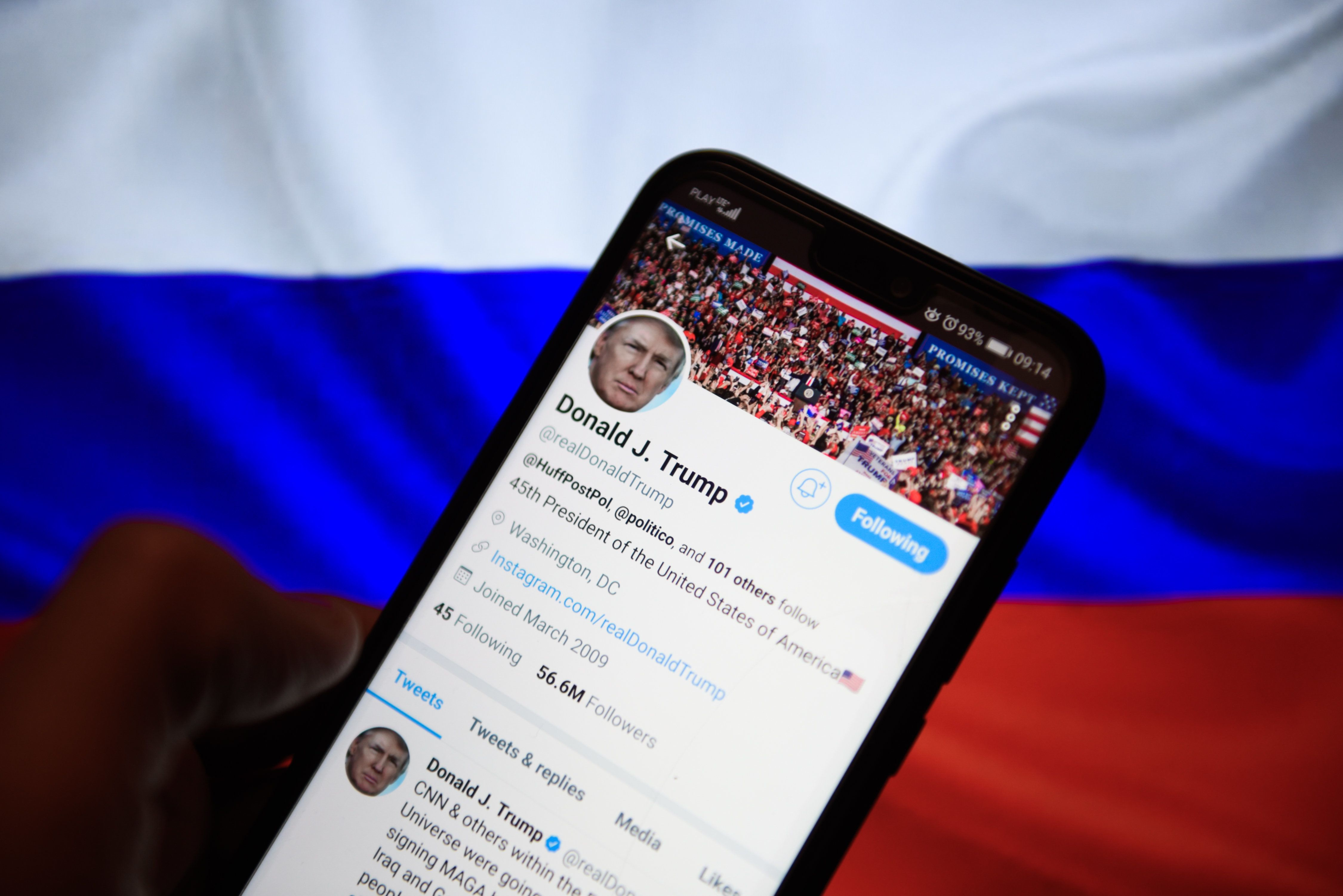 KRAKOW, POLAND - 2018/12/28: The real Donald Trump twitter account  is seen on an android mobile phone. (Photo by Omar Marques/SOPA Images/LightRocket via Getty Images)