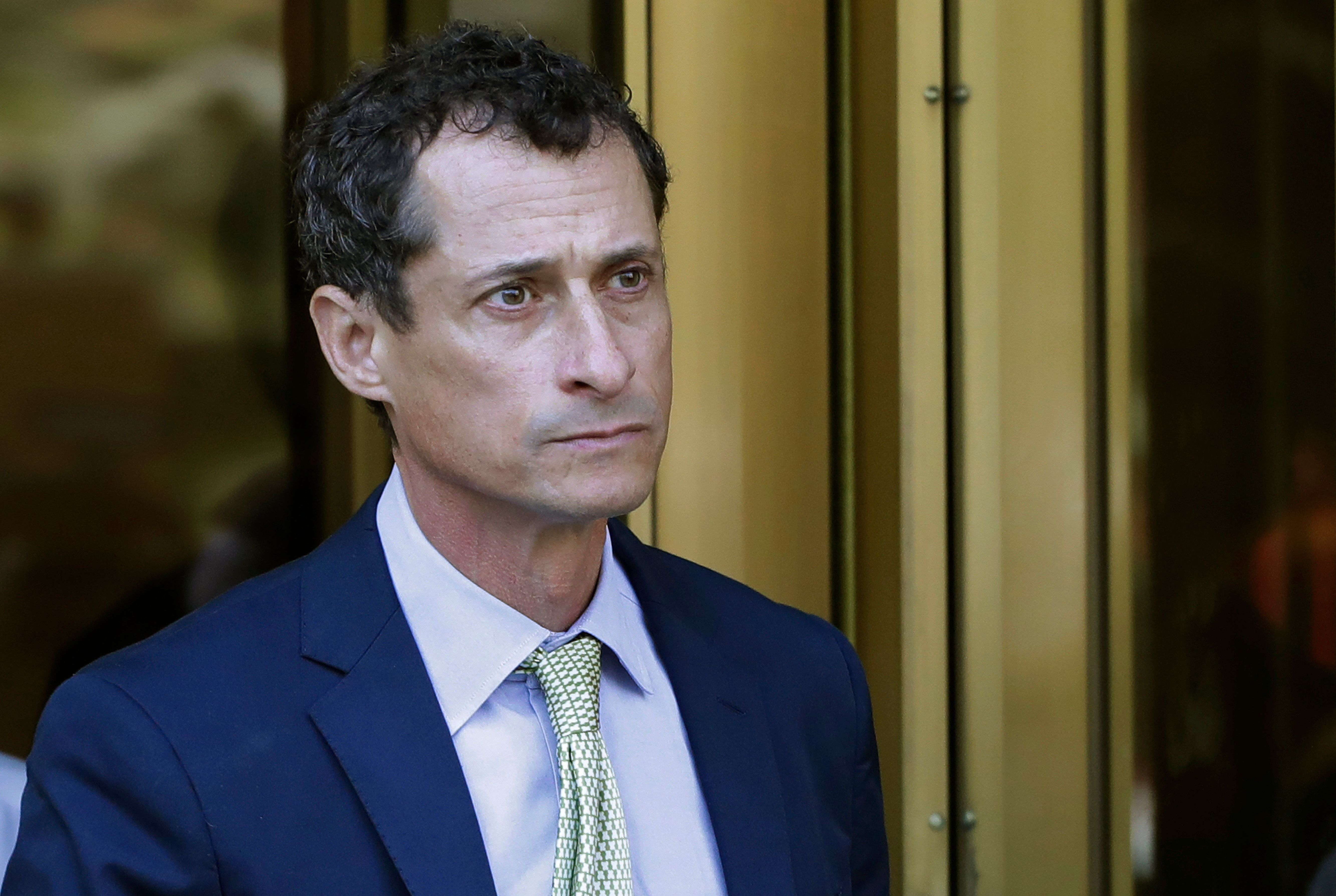 Former Congressman Anthony Weiner leaves federal court following his sentencing, Monday, Sept. 25, 2017, in New York. Weiner was sentenced to 21 months in a sexting case that rocked the presidential race. (AP Photo/Mark Lennihan)