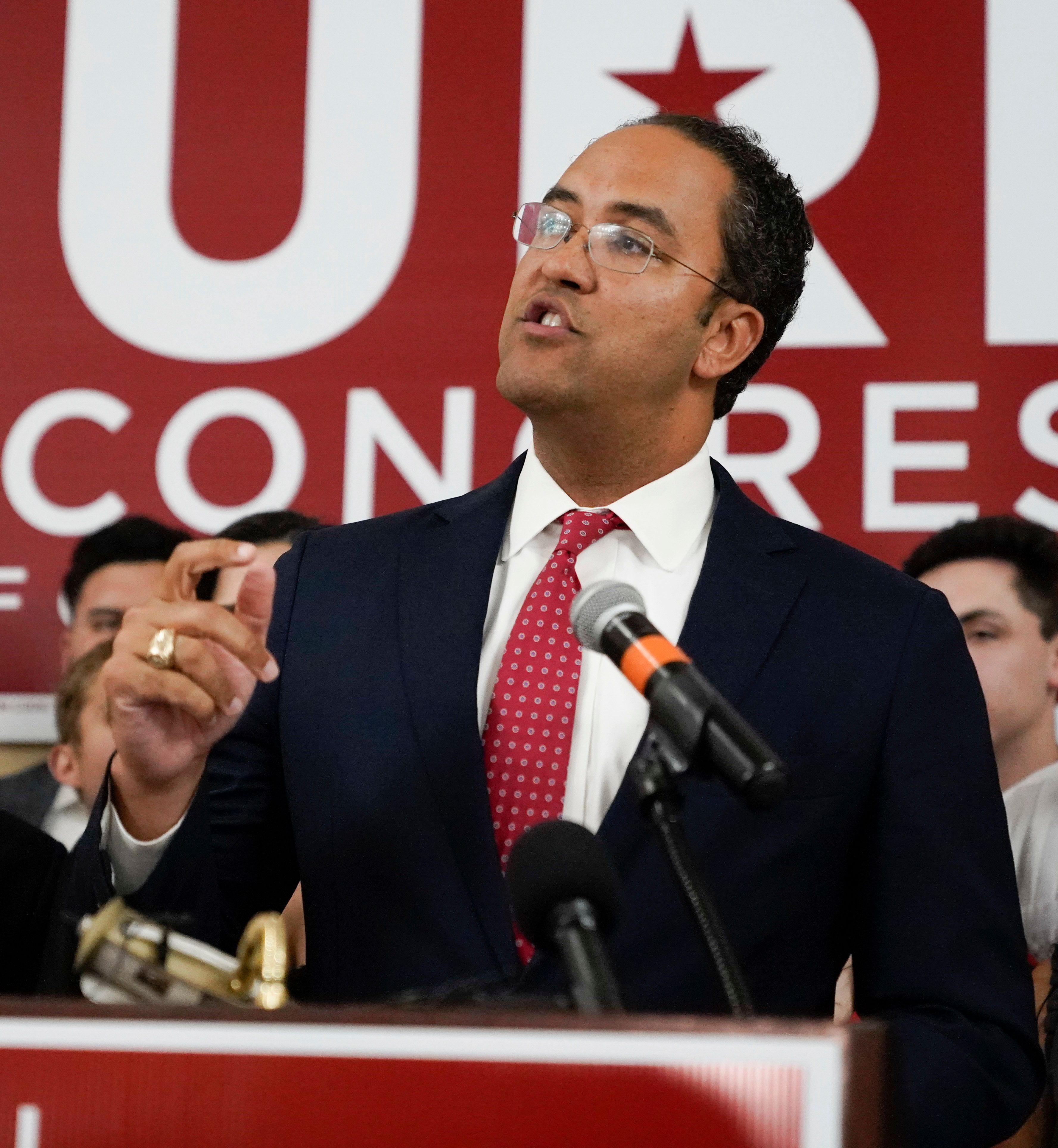 Incumbent U.S. Rep. Will Hurd, R-Texas, speaks during his election night victory party, Tuesday, Nov. 6, 2018, in San Antonio. Hurd defeated Democratic challenger Gina Ortiz Jones. (AP Photo/Darren Abate)