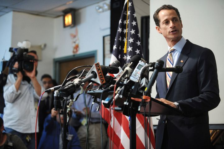 Weiner is seen announcing his resignation from Congress in 2011 after admitting to sending lewd photos of himself on Twitter