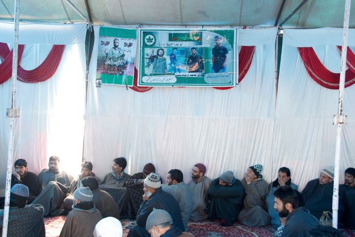 The gathering at Adil Dar's funeral in Kashmir.