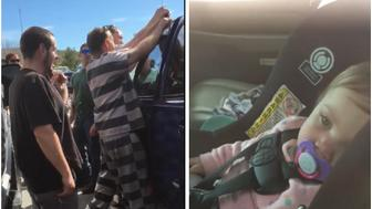 Inmates free baby from locked car