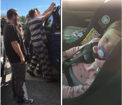 One-year-old Dallas sits patiently inside her parents' car as several inmates work to open the locked vehicle with a wire clo