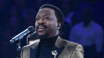 CHARLOTTE, NC - FEBRUARY 17: Anthony Hamilton performs the National Anthem before the 2019 NBA All-Star Game on February 17, 2019 at the Spectrum Center in Charlotte, North Carolina. NOTE TO USER: User expressly acknowledges and agrees that, by downloading and/or using this photograph, user is consenting to the terms and conditions of the Getty Images License Agreement. Mandatory Copyright Notice: Copyright 2019 NBAE (Photo by Andrew D. Bernstein/NBAE via Getty Images)