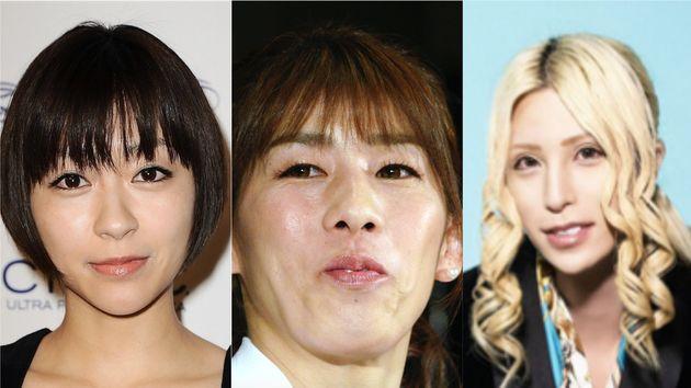 左から宇多田ヒカルさん、吉田沙保里さん、ROLANDさん