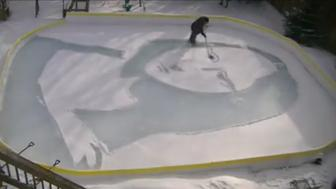 "Robert Greenfield designs the ""Snowna Lisa"", resembling Leonardo da Vinci's Mona Lisa painting, in a snow-covered backyard ice rink in Toronto, Ontario, Canada February 11, 2019 in this social media screengrab. Video taken February 11, 2019. Robert Greenfield via REUTERS ATTENTION EDITORS - THIS IMAGE WAS PROVIDED BY A THIRD PARTY. MANDATORY CREDIT"