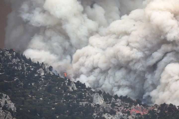 The Cranston Fire is seenburning in the San Bernardino National Forest near Idyllwild, California, in July.
