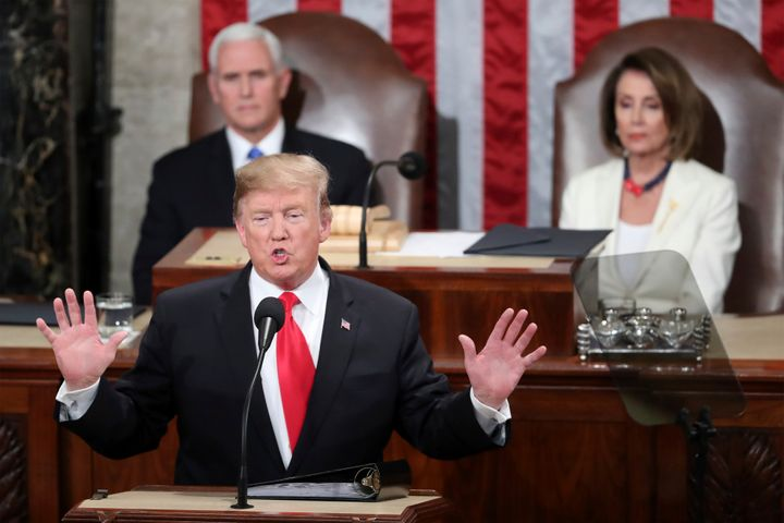 President Trump delivers the State of the Union address as Vice President Mike Pence and Speaker of the House Nancy Pelosi look on, Feb. 5, 2019. (Photo: Andrew Harnik/AP)