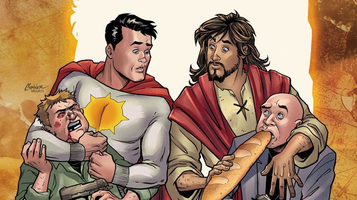 """Second Coming"" is a comic book series about Jesus and a superhero named Sun-Man, who have different approaches to saving the"