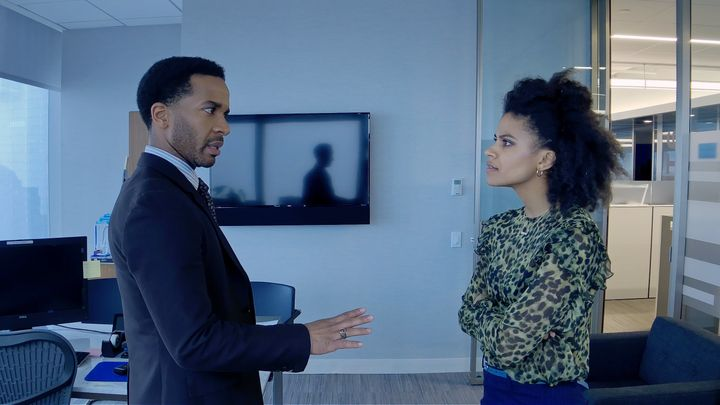 "André Holland and Zazie Beetz in ""High Flying Bird."""