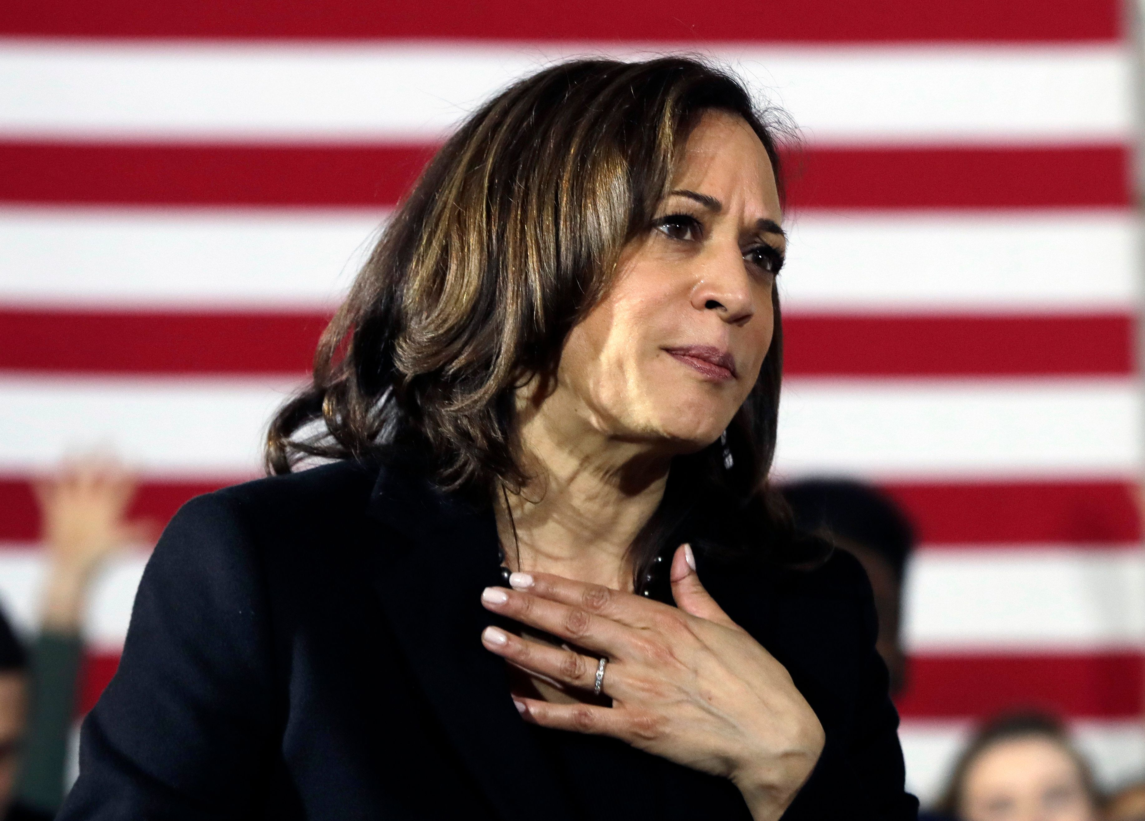 Democratic presidential candidate Sen. Kamala Harris, D-Calif., listens to a question at a campaign event in Portsmouth, N.H., Monday, Feb. 18, 2019. (AP Photo/Elise Amendola)