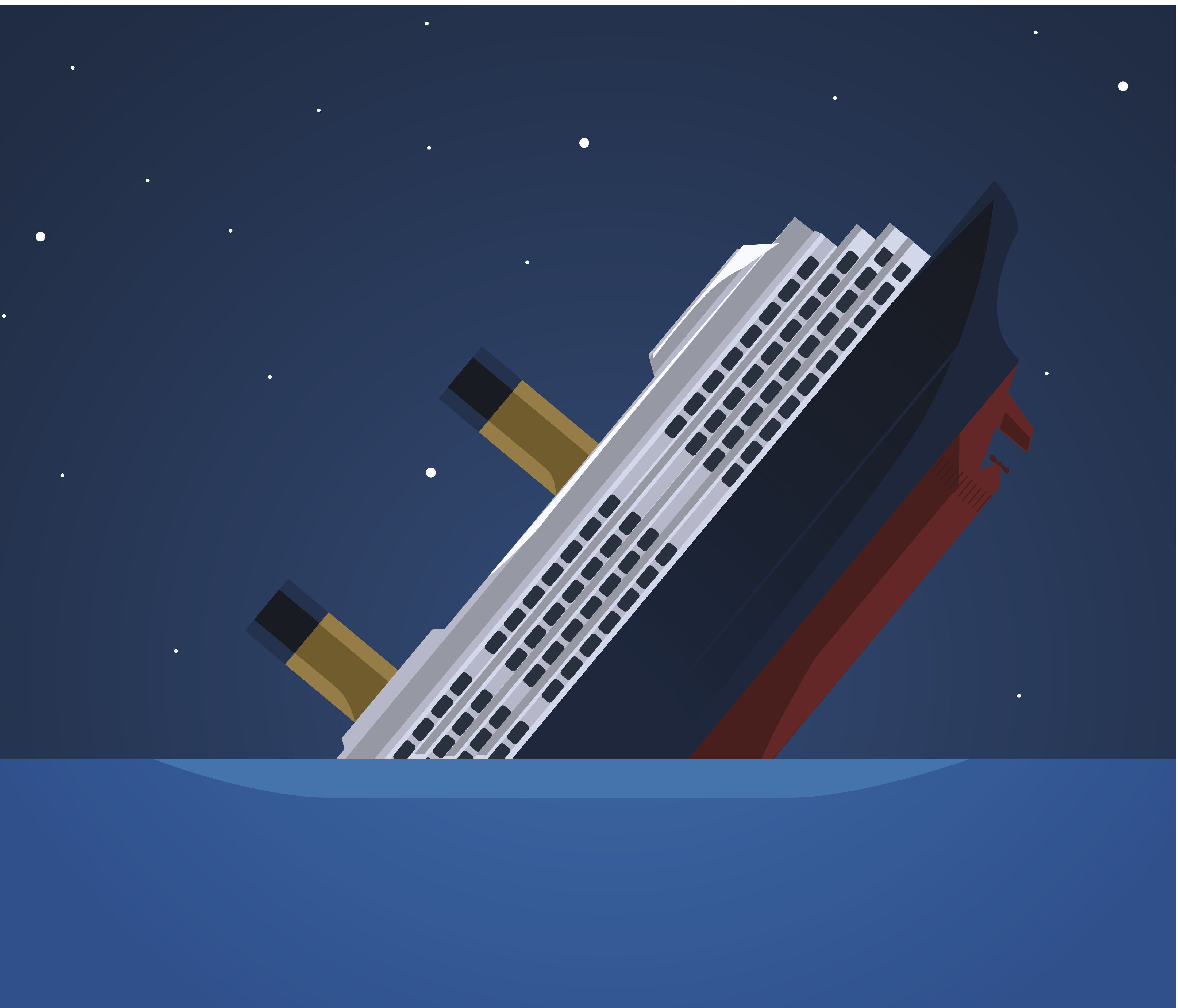 Titanic Iceberg Transatlantic Sank, vector illustration cartoon.