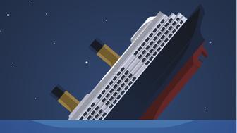 Titanic Iceberg Transatlantic Sank, vector illustration cartoon.
