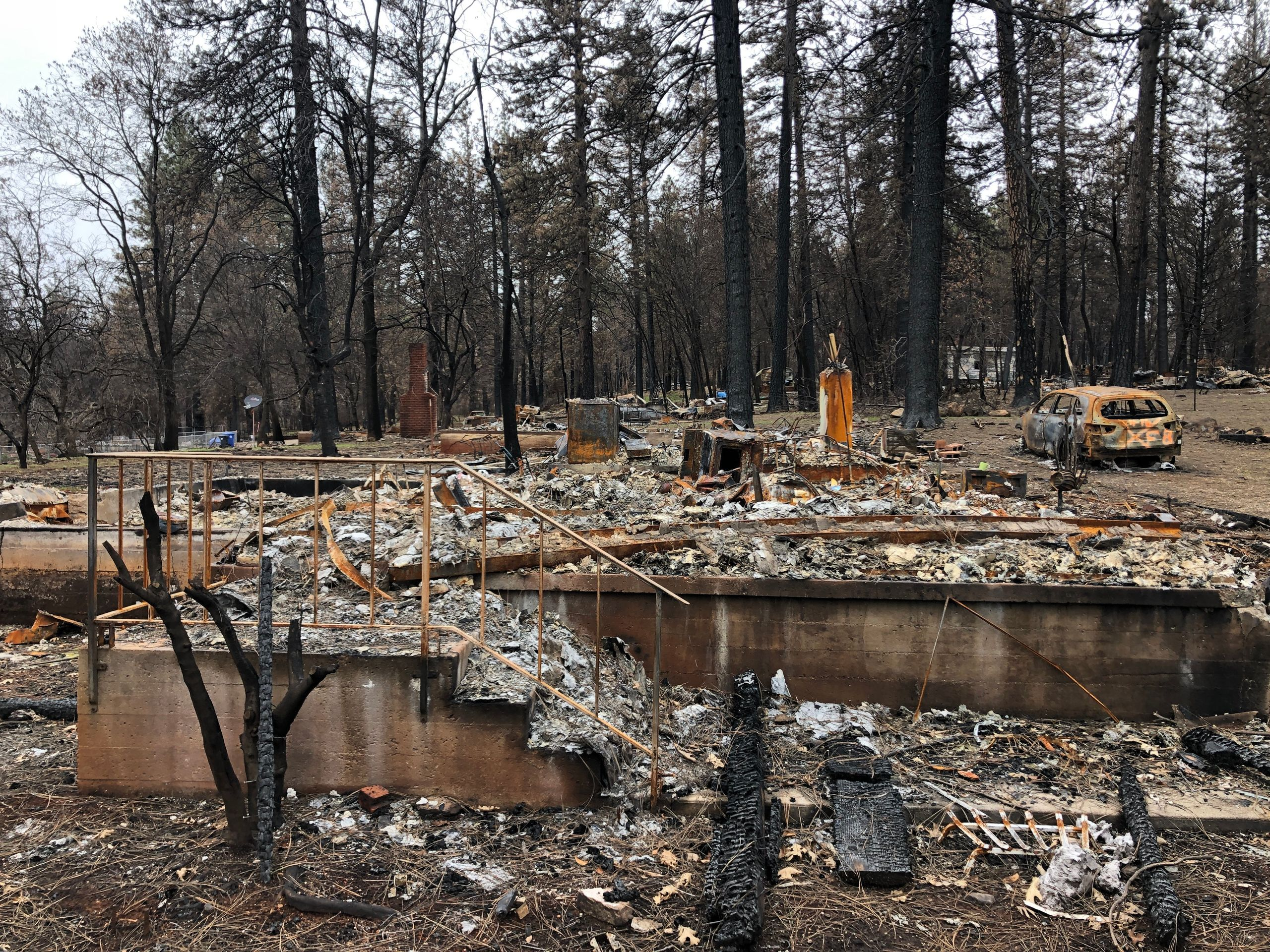 What's left of Pamela Howell and Stacy Hawley's house, months after the Camp fire. — Paradise, Feb. 12
