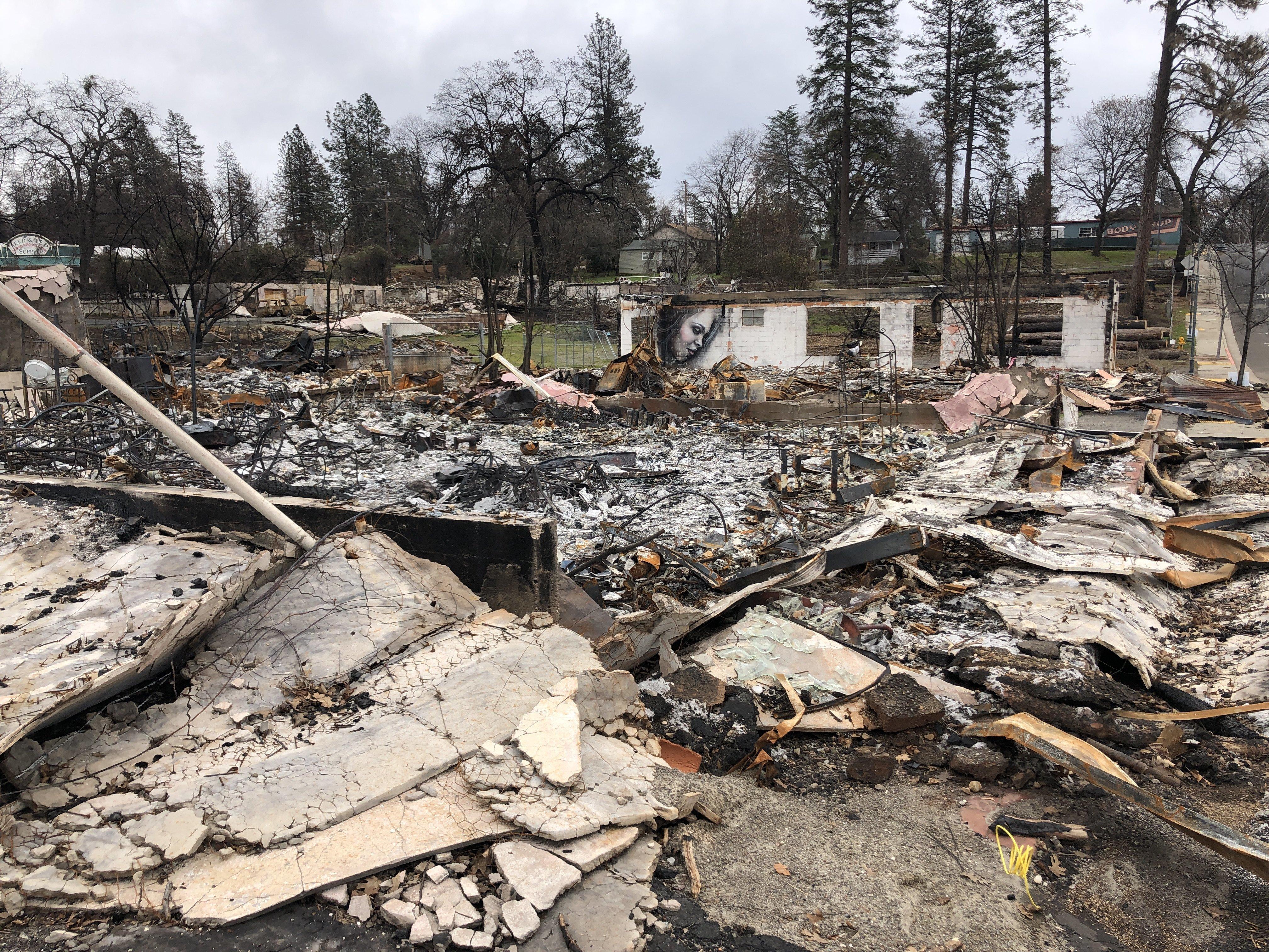 Burned buildings off the main road in Paradise -- Feb. 12, 2019