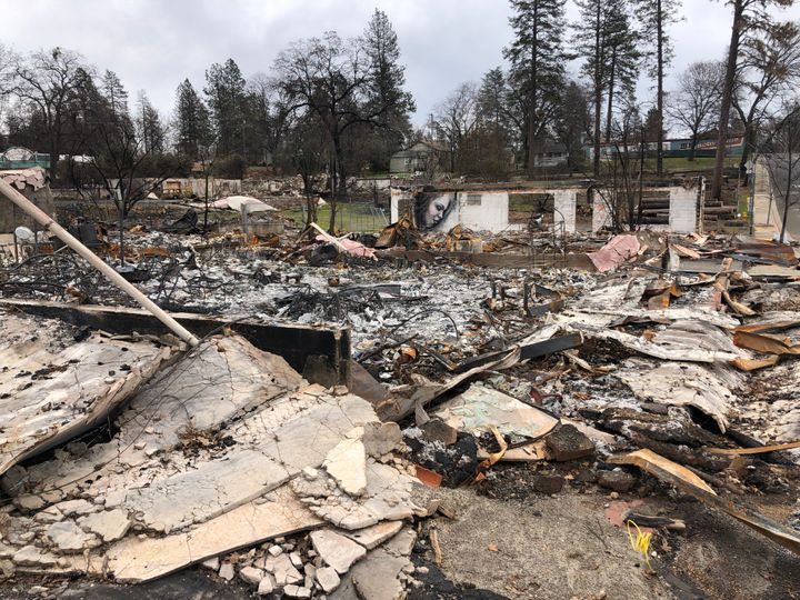 Burned buildings off the main road in Paradise -- Feb. 12, 2019