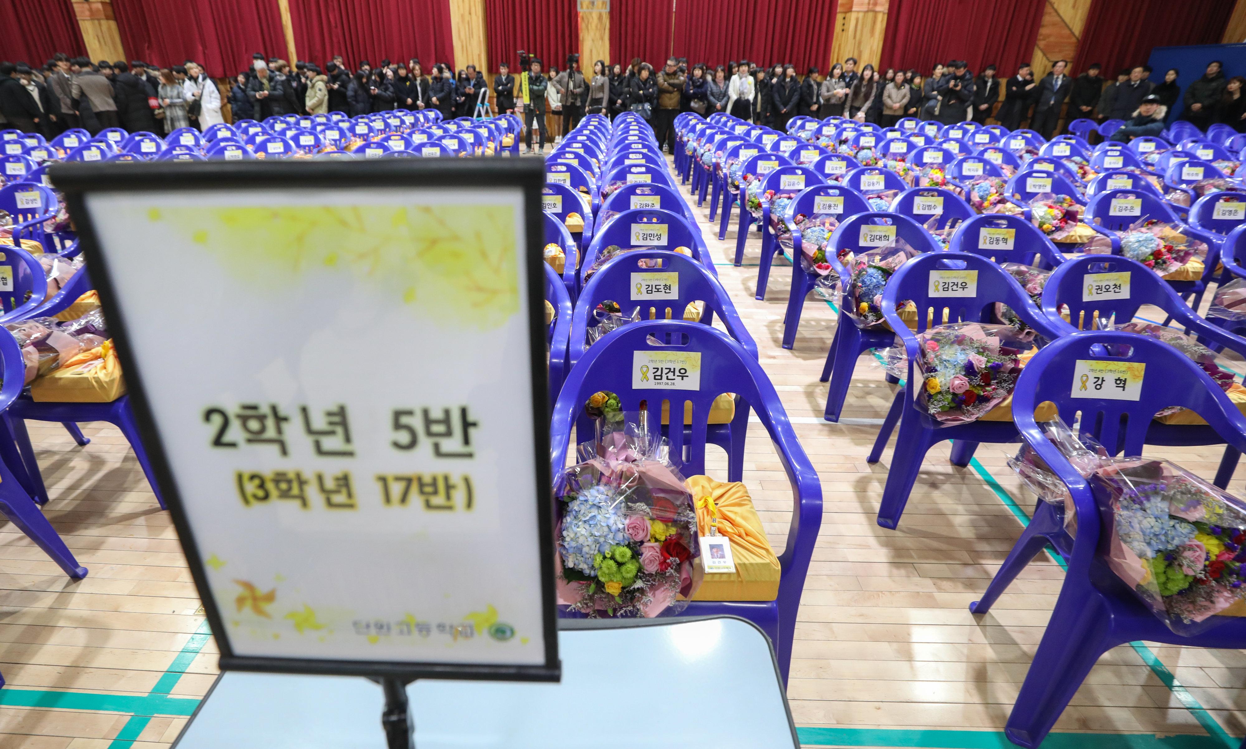 250개의 빈자리만 있던 고등학교 졸업식에