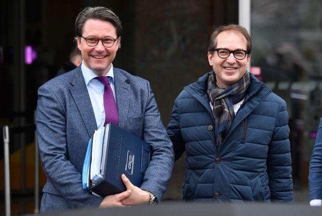 Bundesverkehrsminister Andreas Scheuer (CSU) und sein Amtsvorgänger Alexander Dobrindt