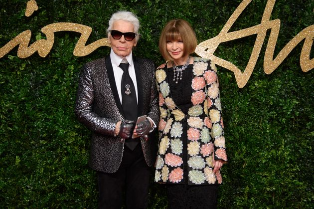 Lagerfeld with Vogue US editor Anna Wintour in