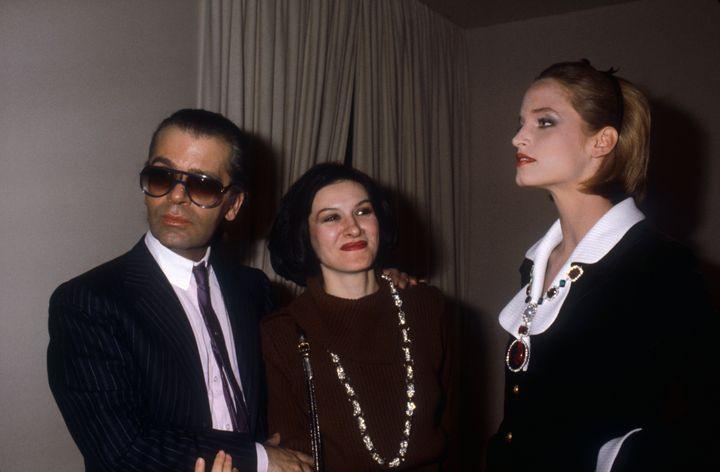 Με την Παλόμα Πικάσο, κόρη του ζωγράφου (στη μέση) και ένα μοντέλο. Παρίσι, 1983.